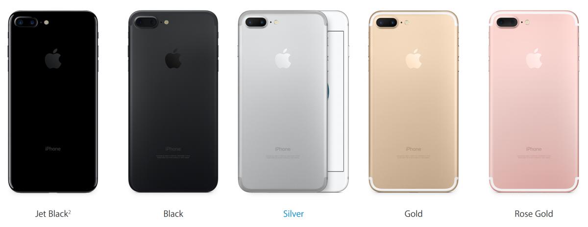 Optiuni culori pentru iPhone 7 si iPhone 7 Plus
